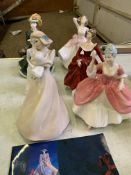 A collection of 6 china figurines by Royal Doulton and Coalport