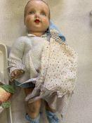 Vintage doll by DBR Company Ltd, and a print