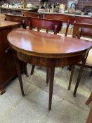 Mahogany demi-lune fold over top tea table