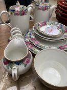 Quantity of glassware; Booth's china part breakfast set and other items including a hunting crop