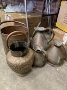 Three graduated copper measures, a brass bound pail and a Middle Eastern flagon