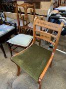 Two mahogany chairs together with a mahogany piano stool