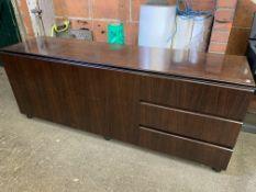 Modern veneer sideboard with two cupboards on ball feet