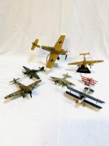 Seven diecast model aeroplanes