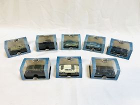 Eight Oxford diecast scale 1:76 model cars, and a Mercedes Benz Mbig 2002