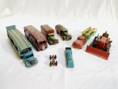 Collection of Dinky toys model vehicles, two Triang lorries and a Prescent diecast locomotive