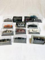 Fourteen diecast model cars