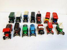 Fourteen Corgi model lorries and vans