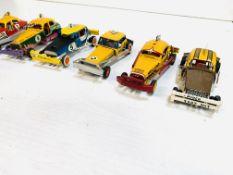 Eight drag racing slot cars.