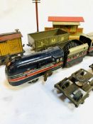 Tinplate O gauge Brimtoy 6220 locomotive, tender and carriage; 3 wagons and 4-wheel chassis