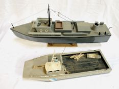 Wooden model motor torpedo boat; and a wooden model ferry