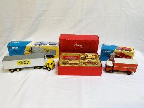 Corgi Classics Michelin Leyland Beaver boxed trailer set; Corgi Classics Mackintosh's AEC truck set