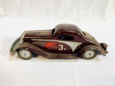 Clockwork tinplate racing car