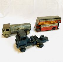 Chad Valley toys tin plate model London Transport bus; tinplate clockwork model tanker