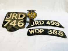 AA badge no. 6B58370; motorcycle rear number plate; and two motorcycle front number plates.