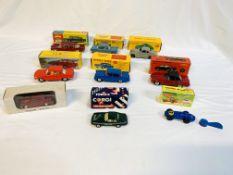 Nine boxed diecast cars including Dinky and Corgi