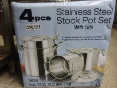 Four new stainless steel stock pot set