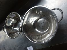Two stainless steel colanders