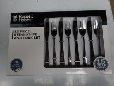 Twelve piece Russell Hobbs steak knife and fork set