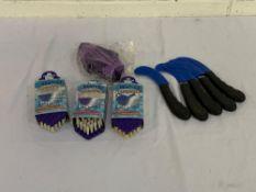 Black handle bot knives x 5, Bentley flexoscrub brush x 3 and Elico Brunswick body brush, purple.