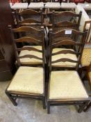 Four 1950's Ercol ladder back dining chairs
