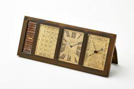 JAEGER LE COUTRE<br>Calendar clock <br>1930's<br>(cm 19,5x8x3) <br>Case with monogram P.B. <br>(defe