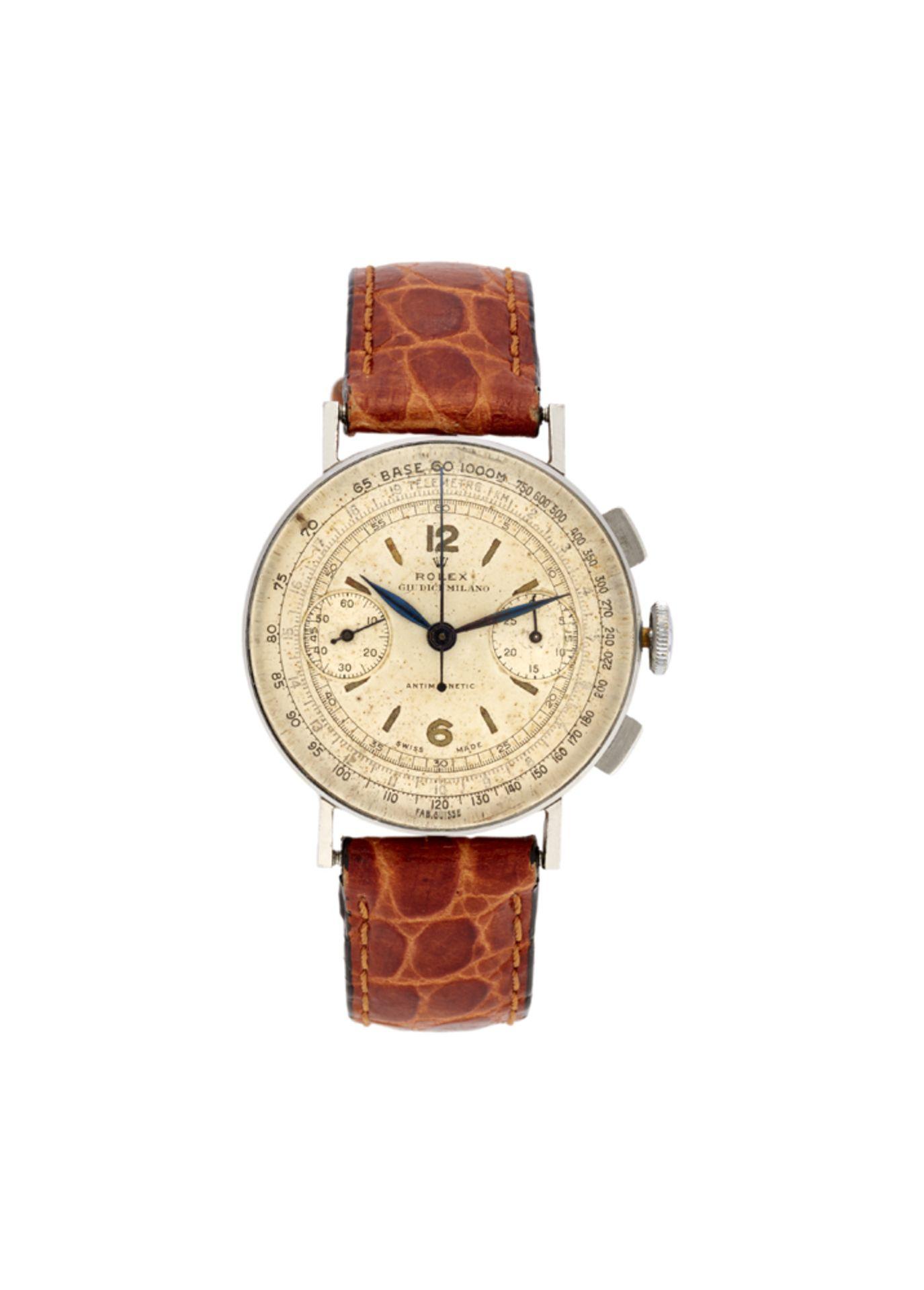 ROLEX GIUDICI MILANOGent's steel wristwatch1940sDial, movement and case signedManual-wind