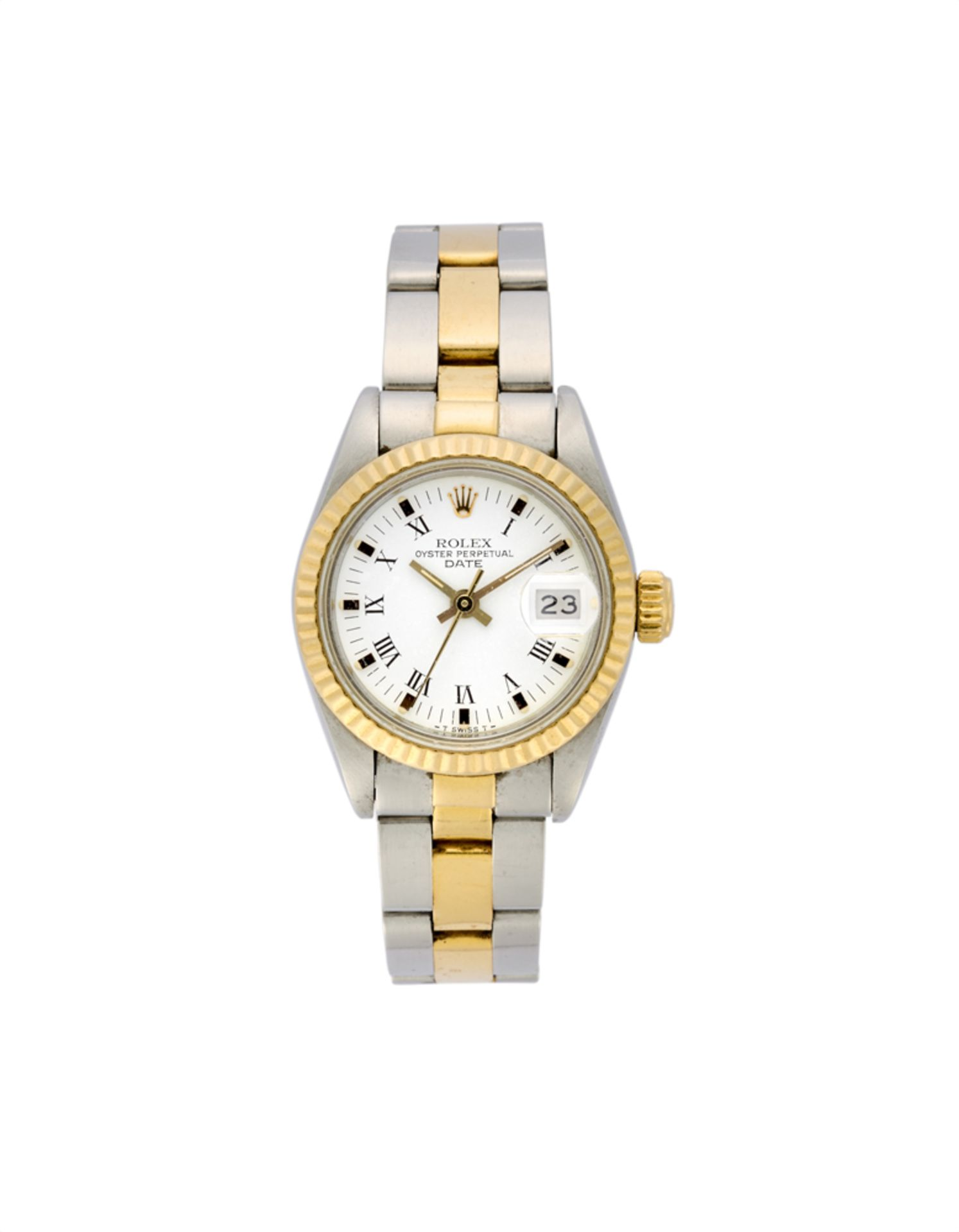 ROLEX DATEJUST Lady's steel and metal plated-gold wristwatch1980sDial, movement and case