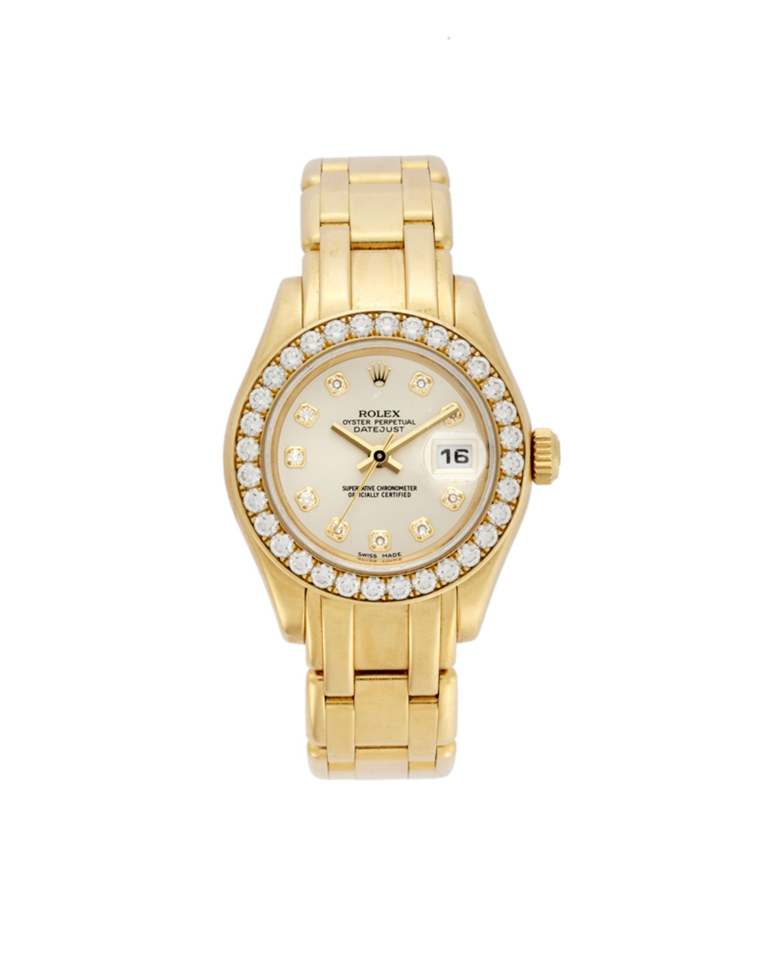 ROLEX DATEJUST Lady's 18K gold wristwatch with diamonds, gold bracelet2000sDial, movement and case