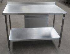 1 x Stainless Steel Commercial Kitchen Prep Bench With Drawer And Upstand - Dimensions: H90 x W120 x