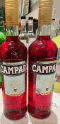 2 x Bottles Of COMPARI - New/Unopened Restaurant Stock - Ref: CAM574 - CL612 - Location: London