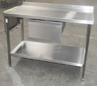 1 x Stainless Steel Commercial Kitchen Prep Counter With Drawer - Dimensions: H92 x W123 x D70cm -