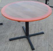 1 x Commercial 100cm Round Tables Featuring Abstract Paint Work And Metal Base - Dimensions: