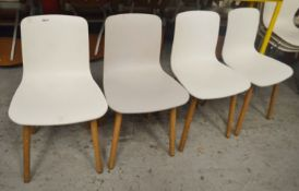4 x VITRA 'HAL' Chairs With Wooden Legs and White Seats - CL554 - Ref IM237 - WH3 - Location: