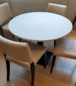 5 x Large Round 4-Person Restaurant Tables With Art Deco Style Metal Bases - Dimensions: Diameter