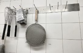 1 x Commercial 7-Hook Utensil Rack With 4 x Whisks, 2 x Graters, 2 x Strainers + Storage Boxes (as
