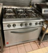 1 x FALCON 900 Wide Commercial Gas Oven With 6-Burner Hob - Ref: CAM630 - CL612 - Location: London