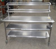 1 x Stainless Steel Commercial Kitchen Prep Bench With Toppers And Under Shelving, On Castors -