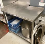 1 x Small Stainless Steel Commercial Prep Table With Upstand And Undershelf - Dimensions: 93 x 68
