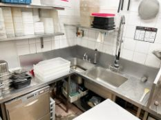 1 x Double Sink Unit With Tap And Rinsehead, Plus Draining Table - Dimensions: Sink 180 x 70 x h91cm
