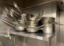 1 x Stainless Steel Shelf With 21 x Assorted Pans - Dimensions Of Shelf: 66 x 30cm - Ref: CAM634 -