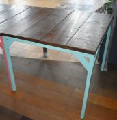 5 x Restaurant Dining Tables With Duck Egg Blue Steel Bases and Wooden Panelled Tops - Size: H77