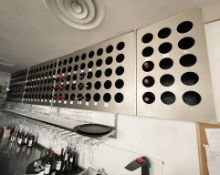1 x Wall Mounted Wine Rack For 150 Bottles, Supplied In 4 Sections - Dimensions: W440cm x H84cm x