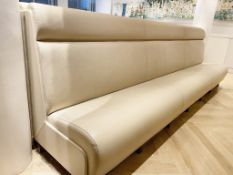 2 x Sections Of Cream Leather Upholstered Restaurant Booth Seating - Each Section Measures W370cm
