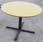 3 x Round Bistro Tables In Yellow And Teal - Dimensions: Diameter 100 x H74cm - Ref: WCH107
