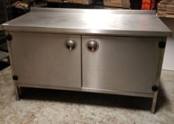 1 x Stainless Steel Commercial Kitchen Prep Counter With Upstand, Removable Front Ticket Holder