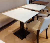 7 x Square 2-Person Restaurant Covered Tables With Art Deco Style Metal Bases
