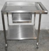 1 x Stainless Steel Commercial Kitchen Spooling Table - Dimensions: H88 x W80 x D61cm - Very