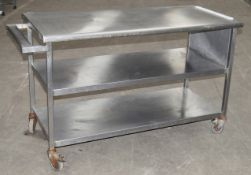 1 x Stainless Steel Commercial Kitchen Prep Bench With Under Shelves, On Castors - Dimensions: H88 x