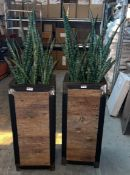 2 x Wooden Outdoor Planters With Artificial Plants - Dimensions: 40 x 40 x H150cm - Pre-owned